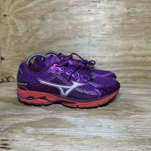 Mizuno Wave Rider 15 Running Shoes Womens Size 10 Purple Red Athletic